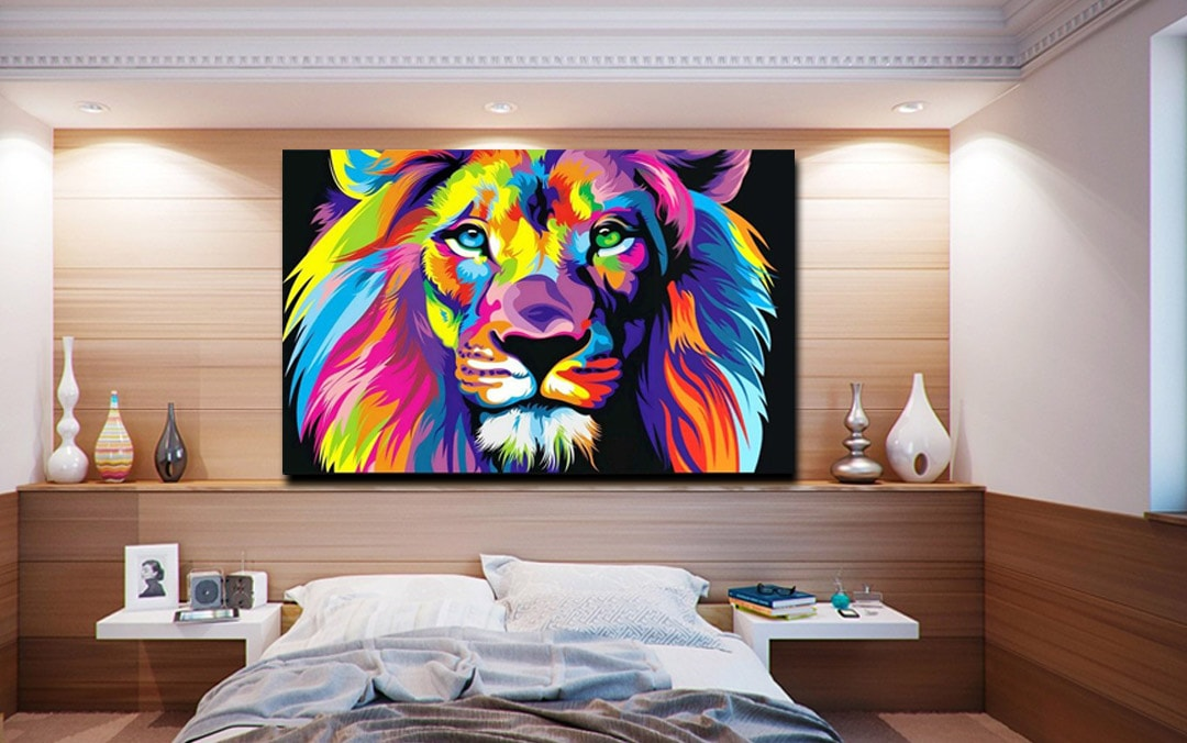 Tableau de Lion Multicolore