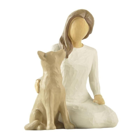 Statue Femme Assise Chien