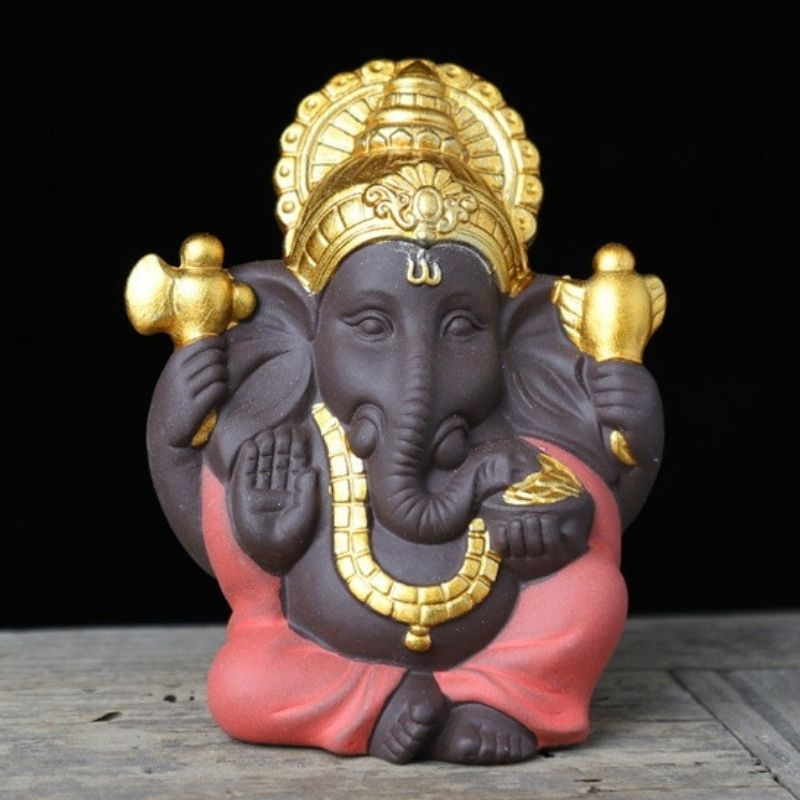 Mini statue ganesh rouge