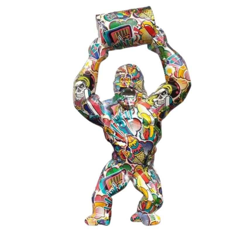 Statue Gorille Pop Art Multicolore