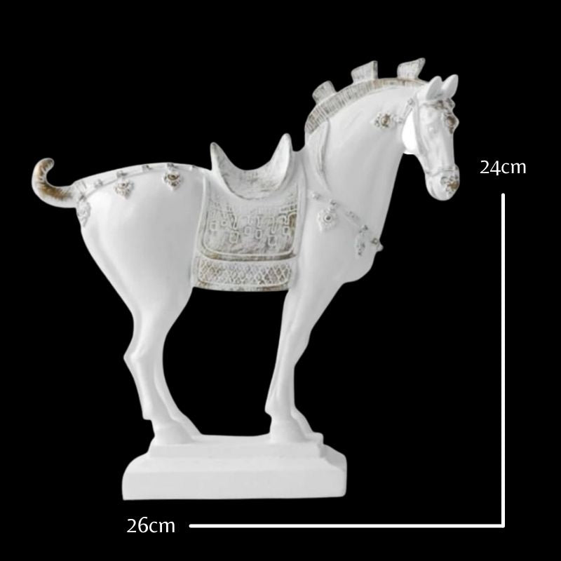 sculpture de cheval blanc