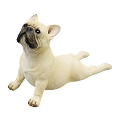 Statue Bouledogue Allongé Blanc