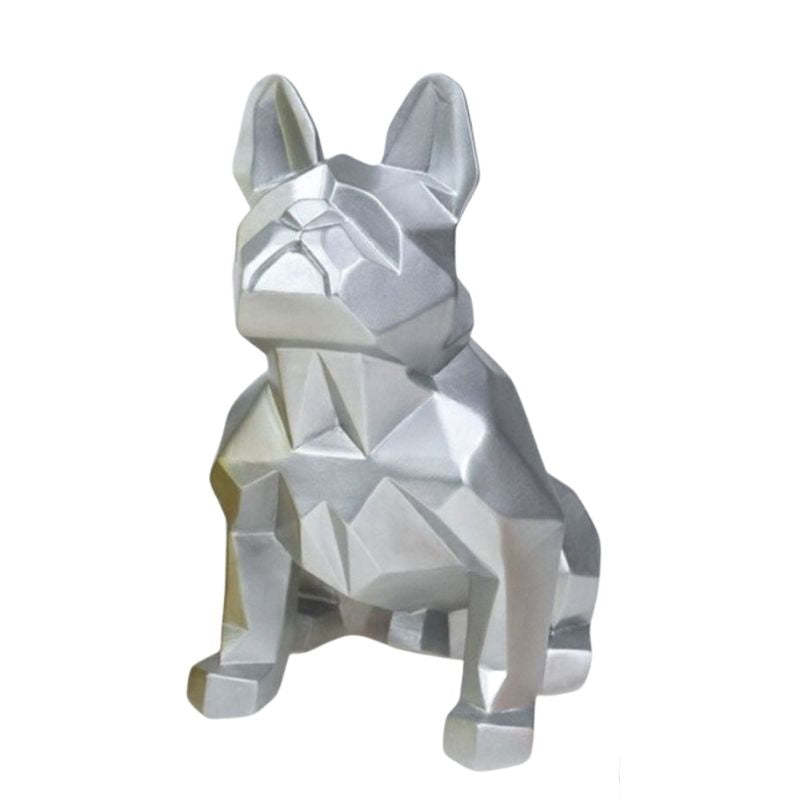 Statue Bouledogue Origami Argent