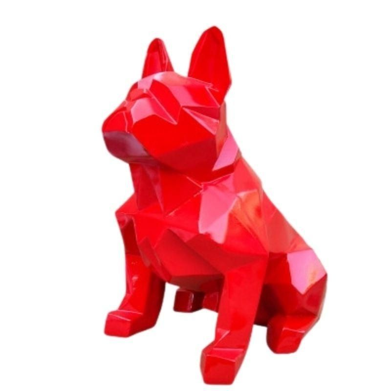 Statue Bouledogue Origami Rouge