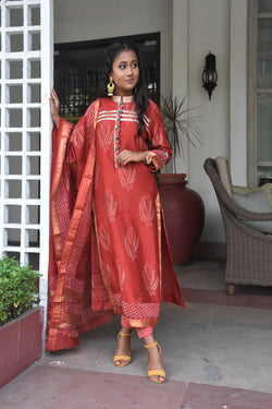 Rust Maheshwari Silk - 3 Piece Dabu Suit Set
