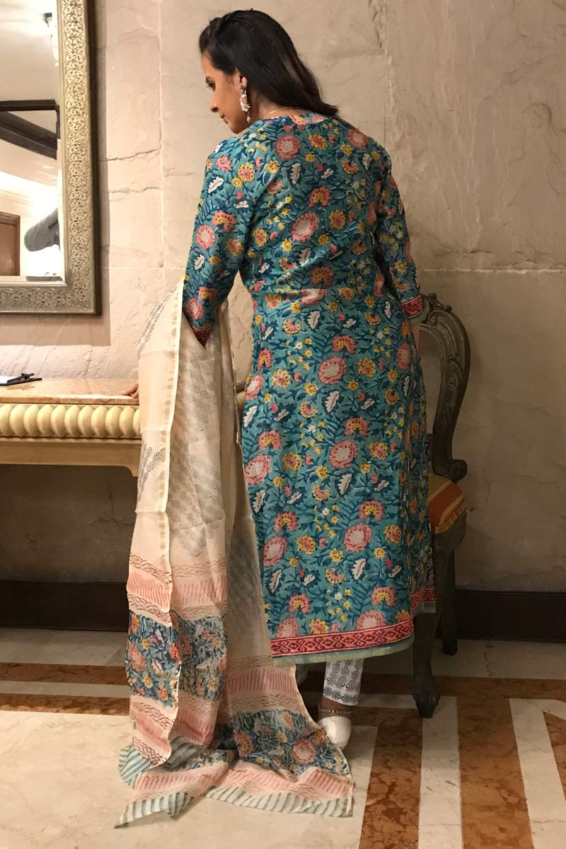 Turquoise Chanderi Silk Dabu - 3 Piece Suit Set