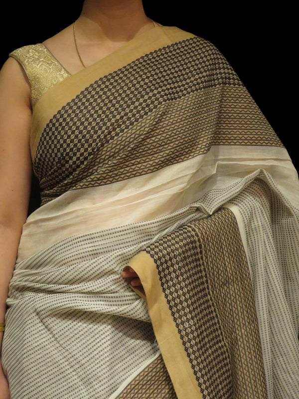 Beige Gray Handloom Cotton Saree