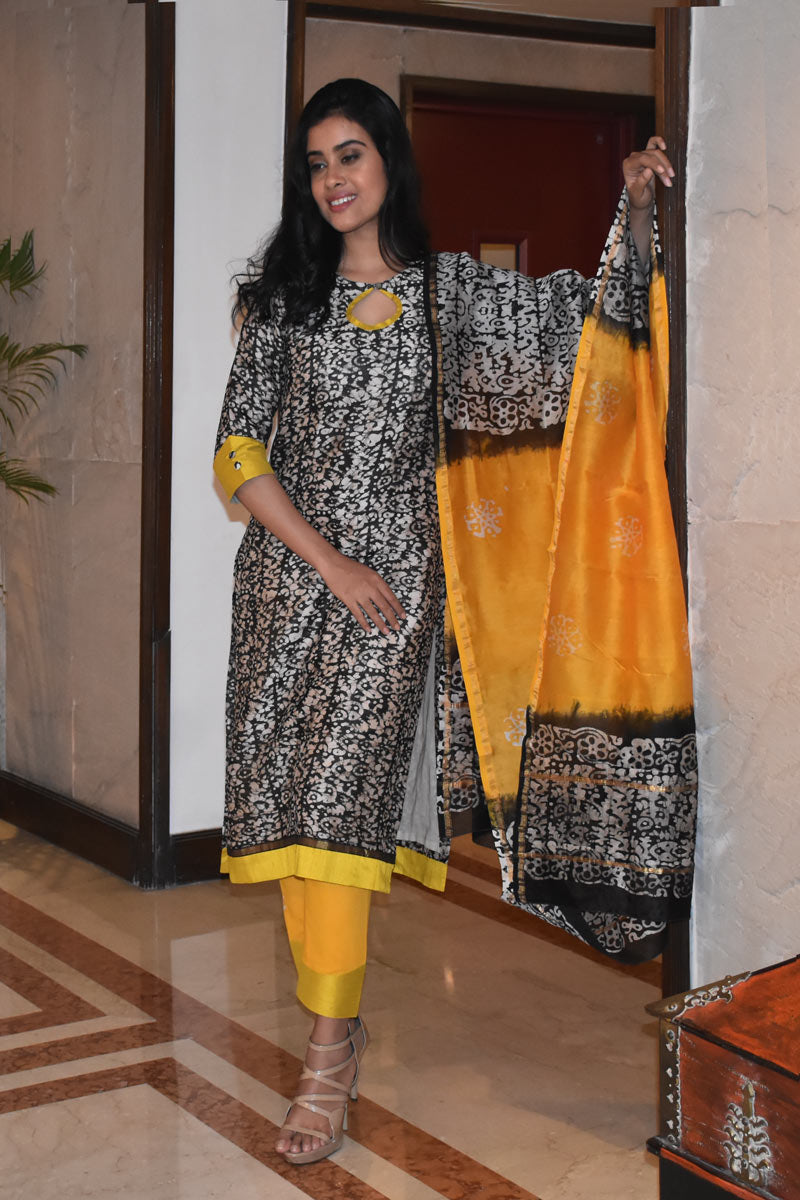 Black & Yellow Chanderi Silk - 3 Piece Suit Set