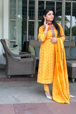 Yellow Maheshwari Silk Dabu - 3 Piece Suit Set