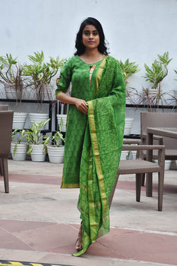 Green Maheshwari Silk Dabu - 3 Piece Suit Set