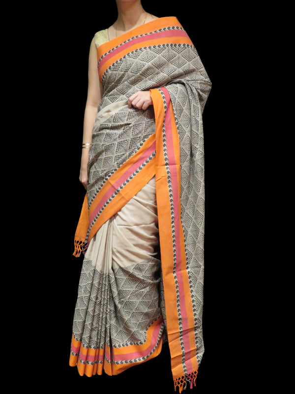 Gray Handloom Cotton Saree