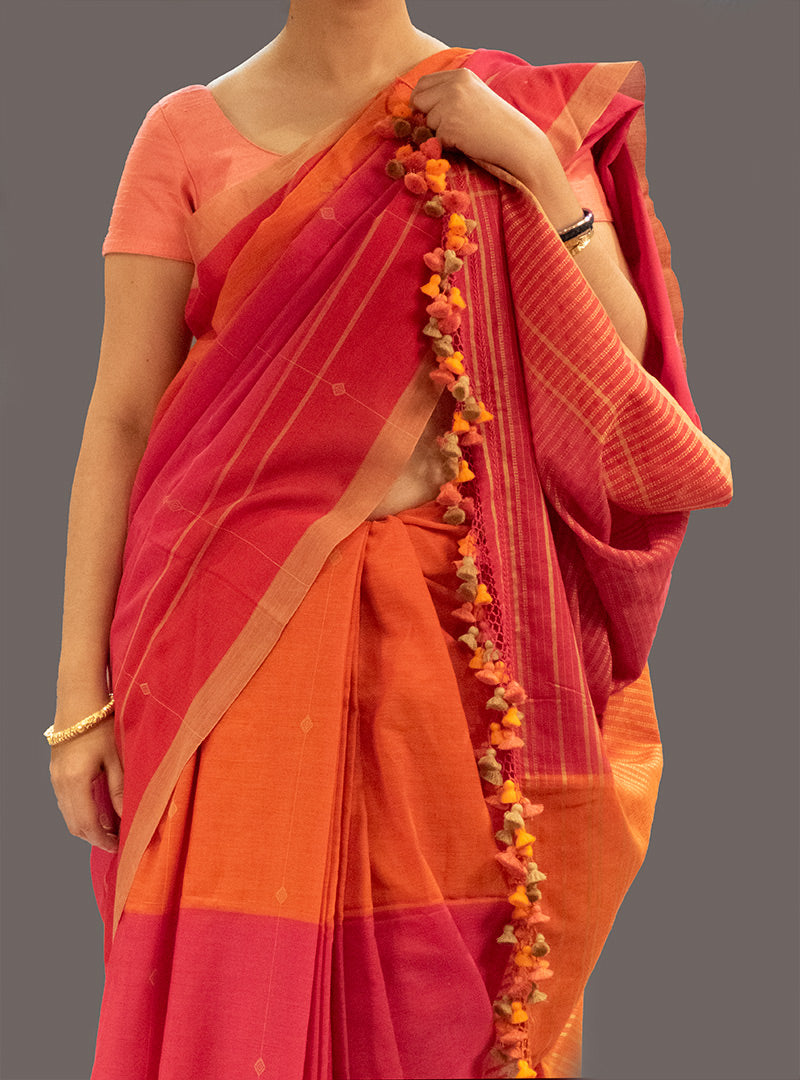 Handloom Cotton Saree - Orange Pink
