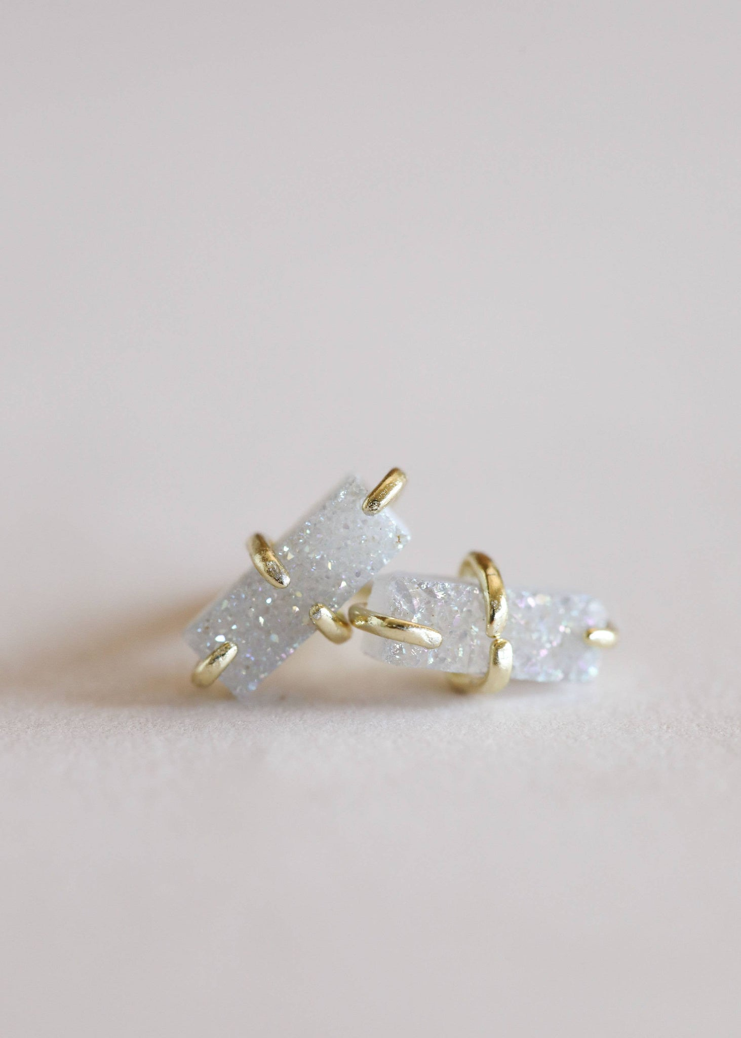 White Druzy Bar Stud