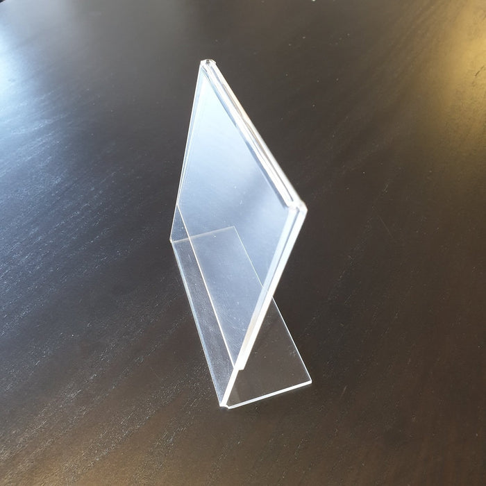 Acrylic Angled Counter Top Sign Holder 100mm x 104mm-Leaflet Holders-Hang and Display