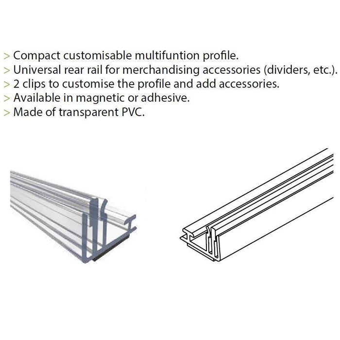 B-U First Adhesive Merchandising Rail with Double Card Holder and T-Rail-Merchandising-Hang and Display