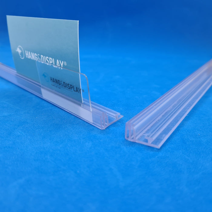 Adhesive Shelf Merchandising Rail with Double Card Holder and T-Rail