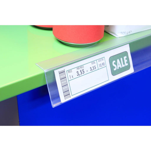 Clear Angled Data Strip Top Mount with Adhesive Backing LAB14 - Hang and Display