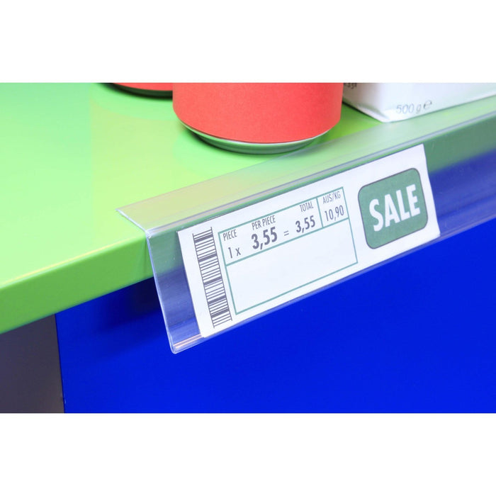 Clear Angled Data Strip Top Mount with Adhesive Backing LAB14-Data Strip-Hang and Display