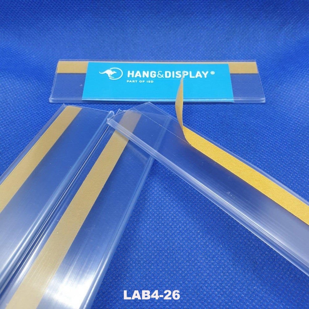 Clear Flat Data Strip with adhesive backing 26mm ticket height LAB4-26-Data Strip-Hang and Display