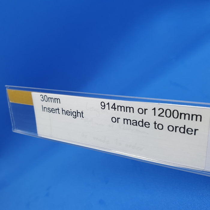 Clear Flat Data Strip with Adhesive Backing 30mm Ticket Height LAB4-30-Data Strip-Hang and Display