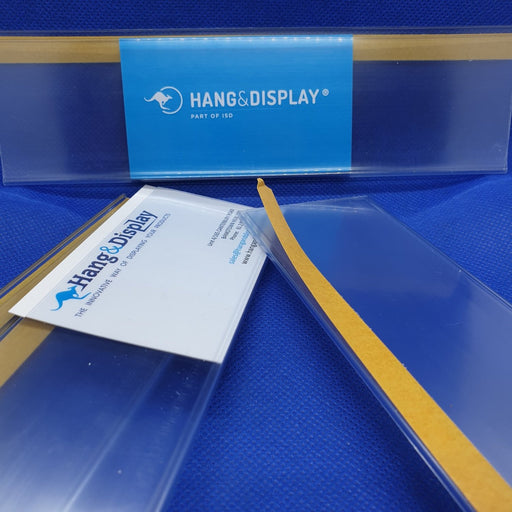 Clear Flat Data Strip with adhesive backing 52mm ticket height LAB4-52-Data Strip-Hang and Display