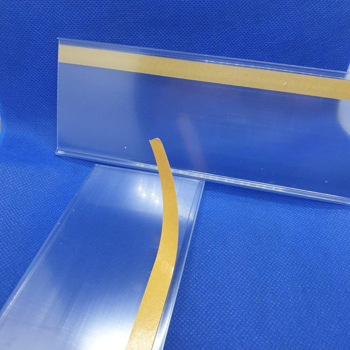 Clear Flat Data Strip with adhesive backing 60mm ticket height LAB4-60-Data Strip-Hang and Display