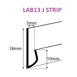Clear PVC J Strip Profile with Adhesive LAB13-J-Data Strip-Hang and Display