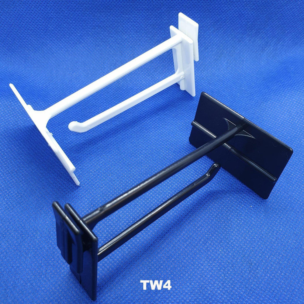 Corrugated Display Twin Hook with Scan Plate Plastic Merchandising Hook TW4 TW6-Scan Hooks & Flipper Label Holders-Hang and Display
