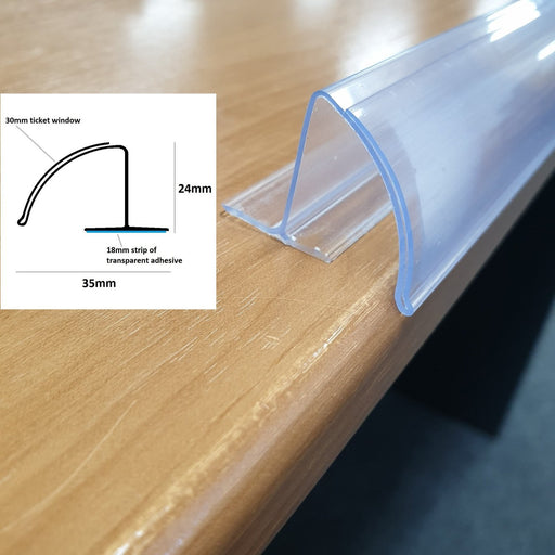 Curved Bullnose POP Data Strip with Adhesive 30mm Ticket