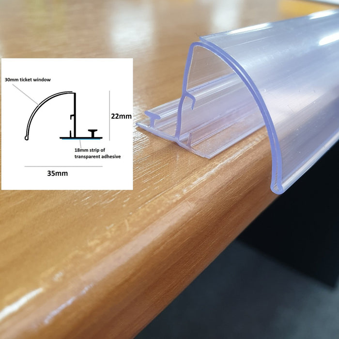 Curved Bullnose POP Data Strip with T Rail and Adhesive 30mm Ticket