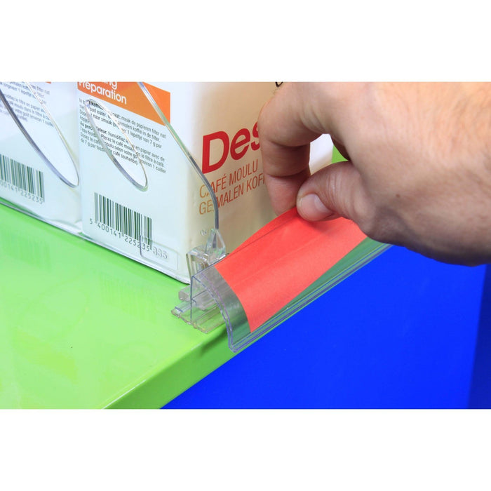 Curved Bullnose POP Data Strip with T Rail and Adhesive-Data Strip-Hang and Display