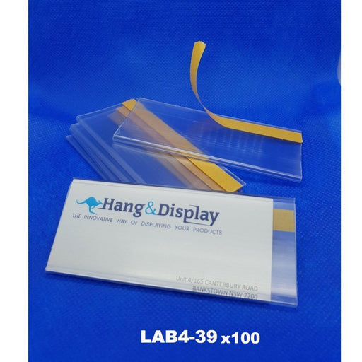 Custom Size Ticket Clear Flat Data Strip 39mm ticket height LAB4-39-Data Strip-Hang and Display