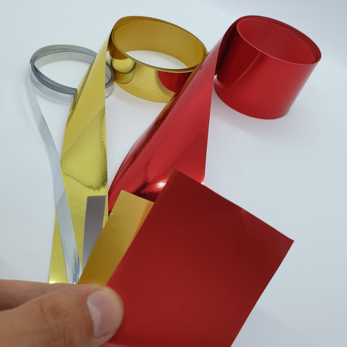 Decorative Metallic Ribbon Rolls Red, Gold or Silver Extra Long
