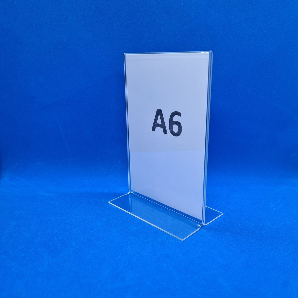 Double Sided Clear Counter Top Sign Holder & Menu Stand A6