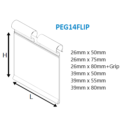 Flip Ticket Holder for Merchandising Hooks PEG14FLIP-Scan Hooks & Flipper Label Holders-Hang and Display
