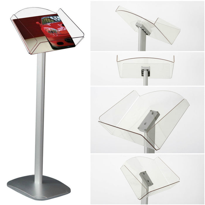 Floor Standing A4 Brochure Stand with Acrylic Tray Brochure Dispenser
