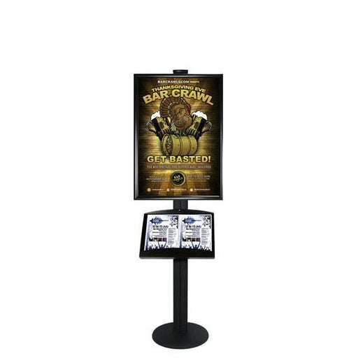 Free Standing A1 Snap Frame and Brochure Tray Combined Display APS-A1-BT - Hang and Display