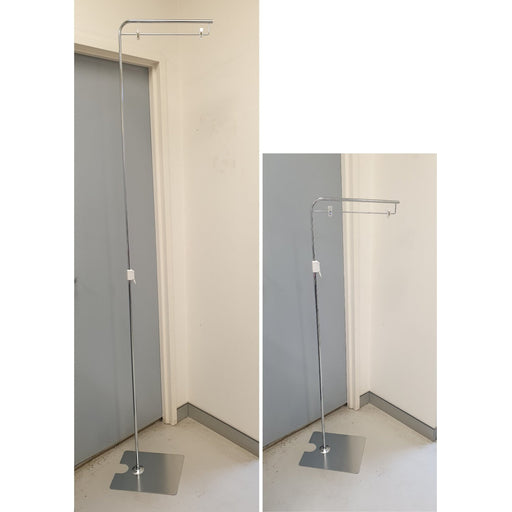 Free Standing Metal Sign Stand with Telescopic Pole and Sign Holder Clips-Banner Display-Hang and Display