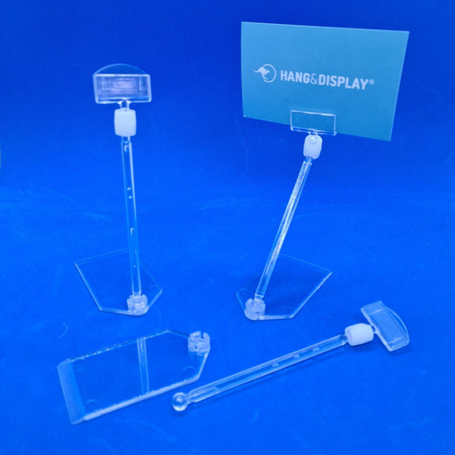 Freestanding POS Plastic Ticket and Sign Holder Under Tray Sliding base