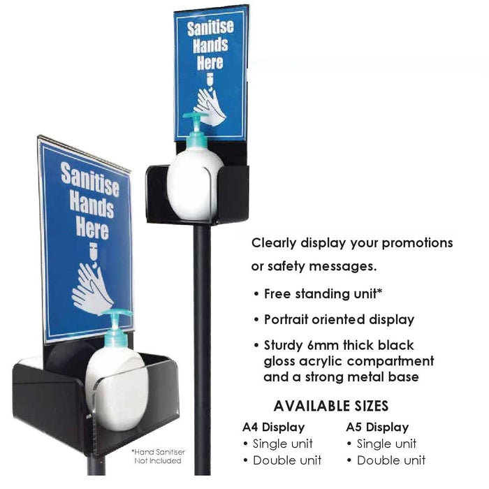 Hand Sanitizer Station Sanitiser Holder Floor Stand with A4 Sign and Acrylic Tray-Sanitizer Stand-Hang and Display