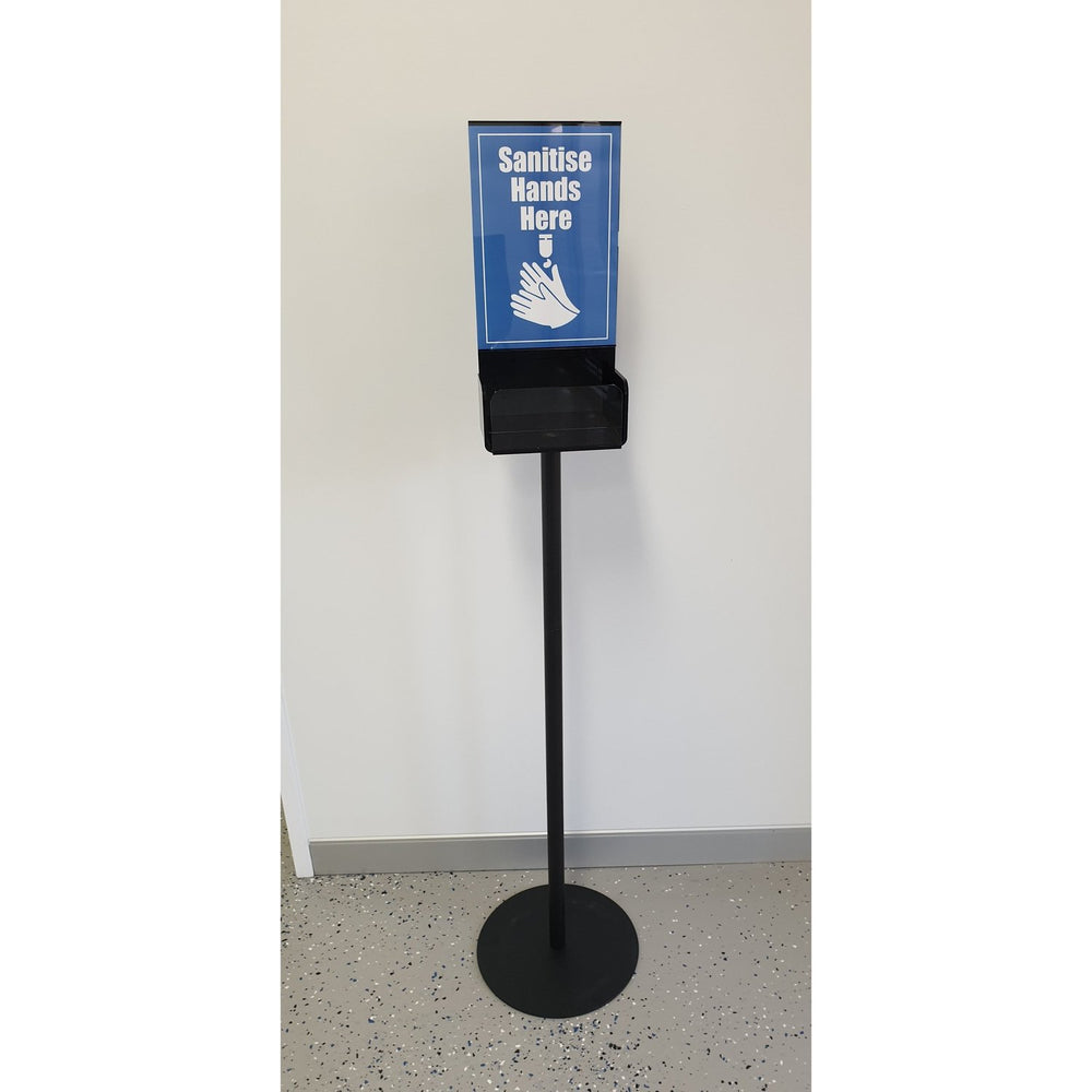 Hand Sanitizer Station Sanitiser Holder Floor Stand with A4 Sign and Acrylic Tray