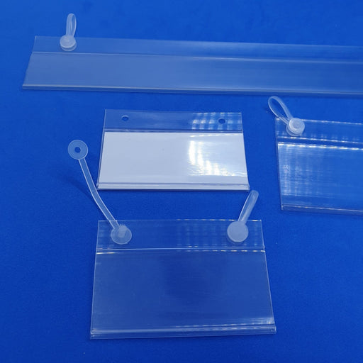 Hang Scan Data Strip with Hanging Holes For Wire Shelves LAB11-Data Strip-Hang and Display