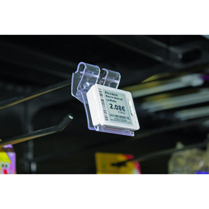 Hook Mounted Adjustable Individual Electronic Label Holder for Hanshow, Pricer & Altierre - Hang and Display