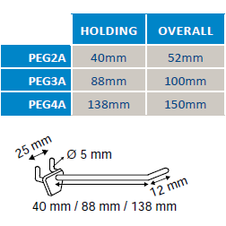 Pegboard Single Prong Plastic Merchandising Hook PEG2A PEG3A PEG4A-Plastic Pegboard Hooks-Hang and Display