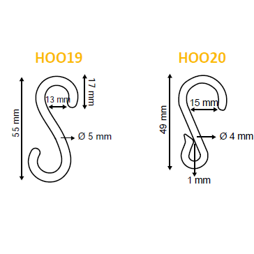 Plastic S Hook HOO19 HOO20-Hooks-Hang and Display