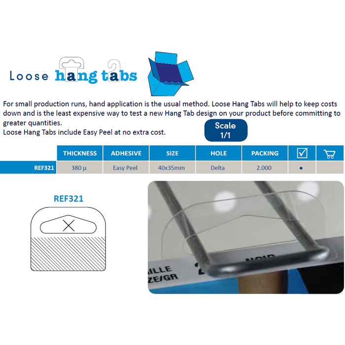 Self Adhesive Hang Tabs Delta Slot REF-321-Hang Tabs-Hang and Display