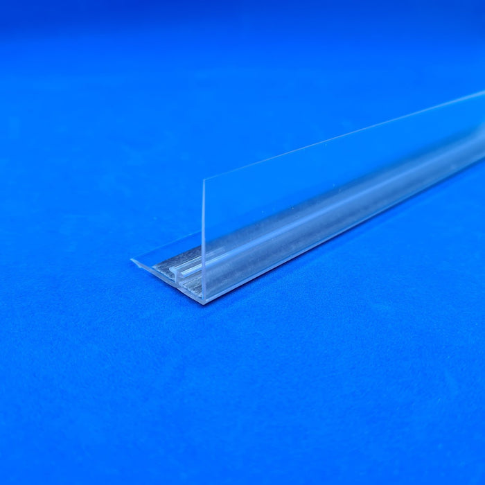 Shelf Stopper Strip Clear PVC with T-Rail and Magnetic Base
