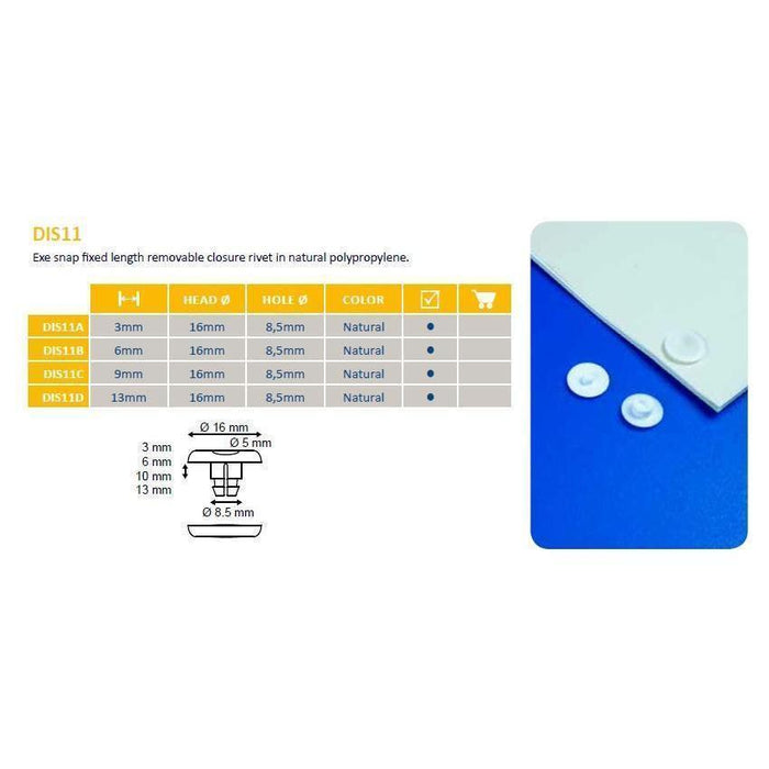 Snap Lock Plastic Exe Snap Rivet DIS11-Screws, Ratchets and Rivets-Hang and Display