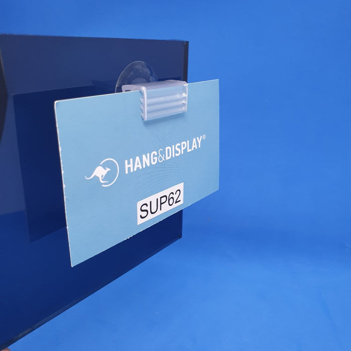 Suction Cup with Parallel SuperGrip Sign Holder up to 2mm Capacity SUP62-Supergrip with Suction Cup-Hang and Display