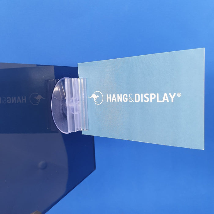 Suction Cup with Perpendicular SuperGrip Sign Holder up to 2.5mm Capacity SUP63-Supergrip with Suction Cup-Hang and Display